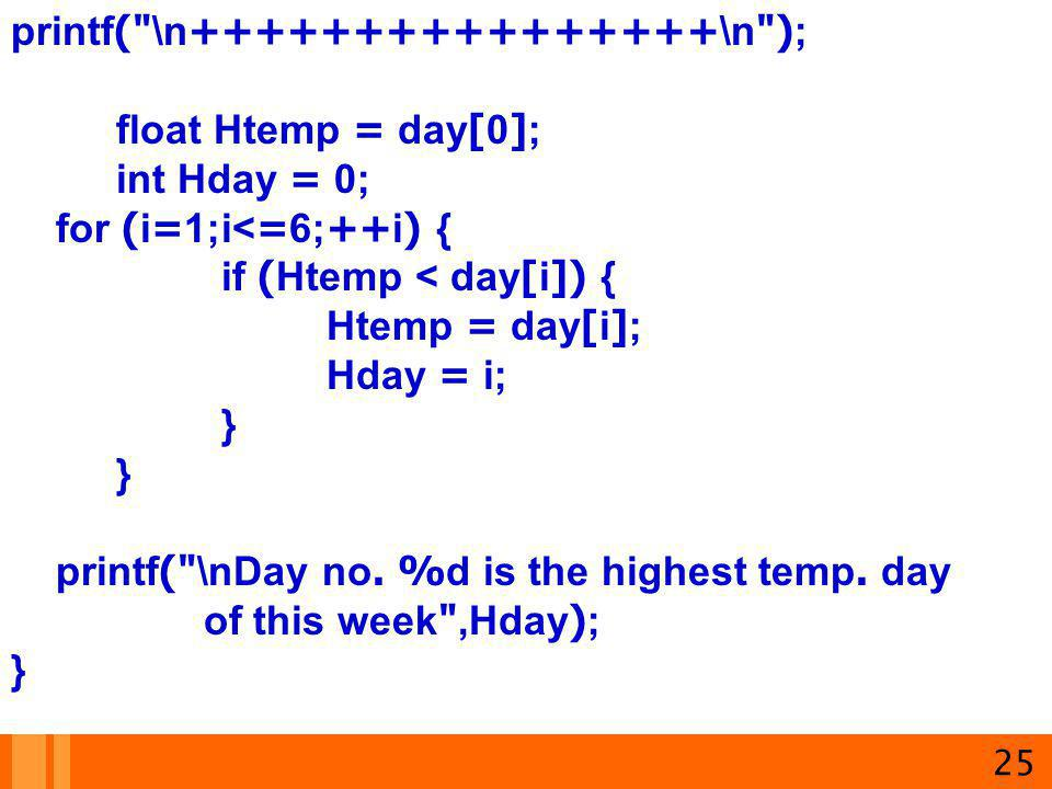 printf( \n++++++++++++++++\n ); float Htemp = day[0]; int Hday = 0;